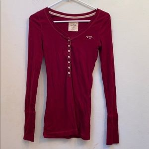 Hollister red longsleeve top size M